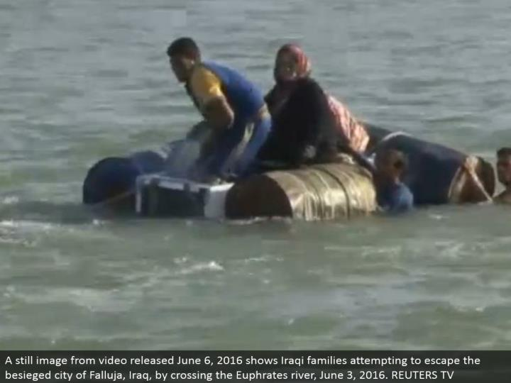 A still picture from video discharged June 6, 2016 shows Iraqi families endeavoring to get away from the blockaded city of Falluja, Iraq, by intersection the Euphrates waterway, June 3, 2016. REUTERS TV