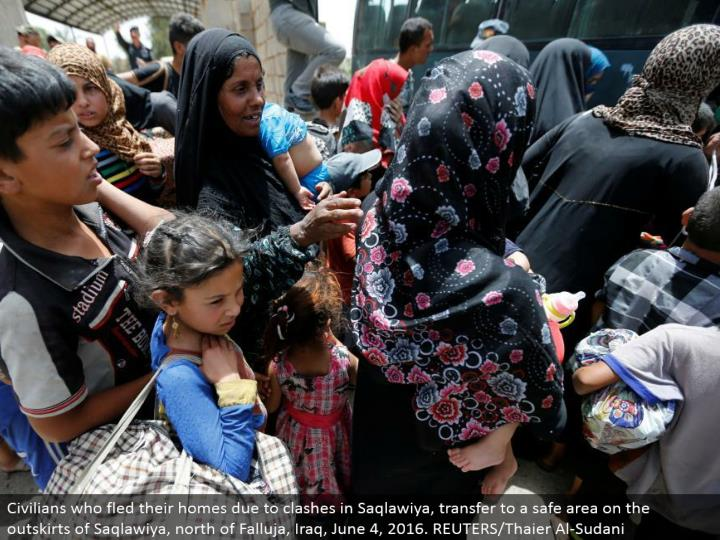 Civilians who fled their homes because of conflicts in Saqlawiya, exchange to a protected region on the edges of Saqlawiya, north of Falluja, Iraq, June 4, 2016. REUTERS/Thaier Al-Sudani