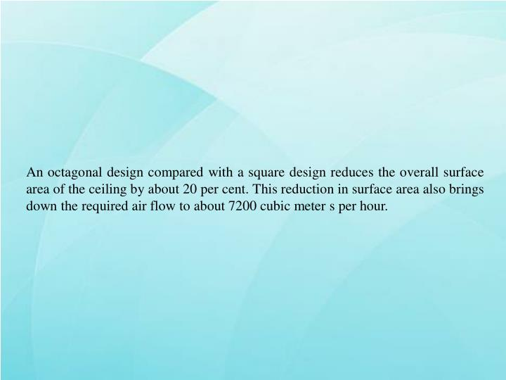 An octagonal design compared with a square design reduces the overall surface