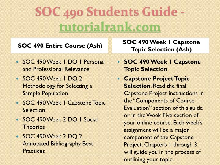 SOC 490 Entire Course (Ash)