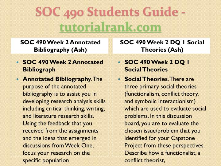 SOC 490 Week 2 Annotated Bibliography (Ash)