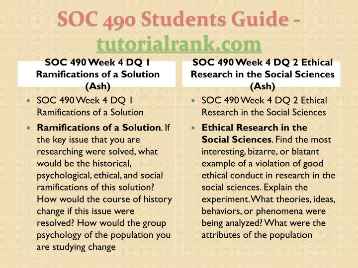 SOC 490 Week 4 DQ 1 Ramifications of a Solution (Ash)