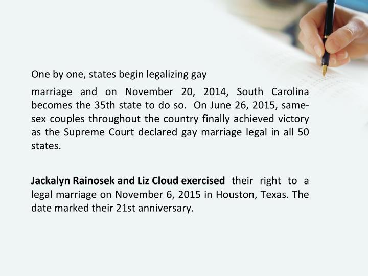 One by one, states begin legalizing gay