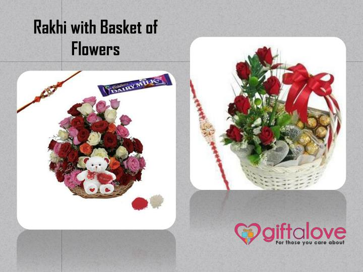 Rakhi with Basket of Flowers