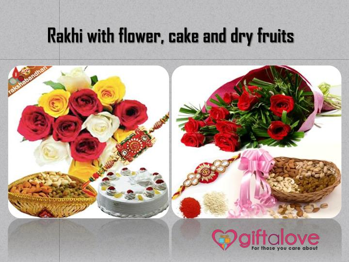 Rakhi with flower, cake and dry fruits