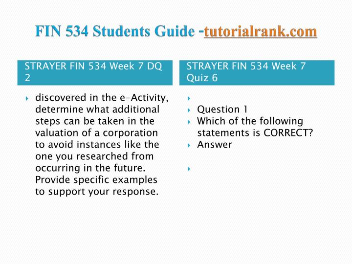 FIN 534 Students Guide -