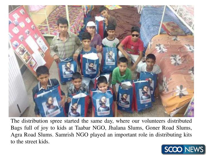 The distribution spree started the same day, where our volunteers distributed Bags full of joy to kids at