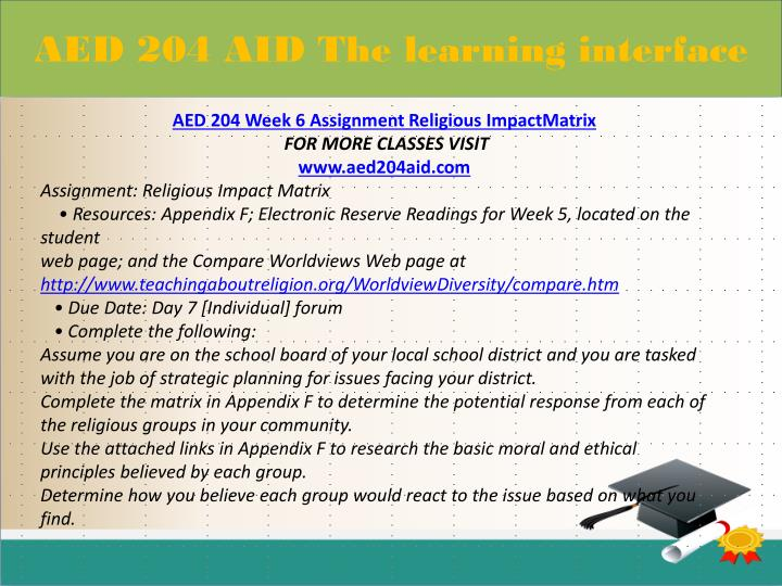 aed 204 appendix f religious impact matrix Aed 204 week 6 checkpoint the first amendment and its impact on education aed 204 week 6 assignment religious impactmatrix aed 204 week 7 dq 1 and dq 2  record relevant information in appendix d determine what this matrix says about educational equality.