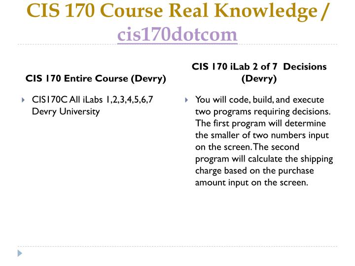 Cis 170 course real knowledge cis170dotcom1