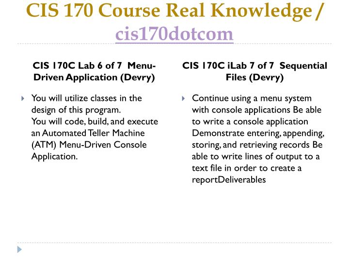 CIS 170 Course Real Knowledge /