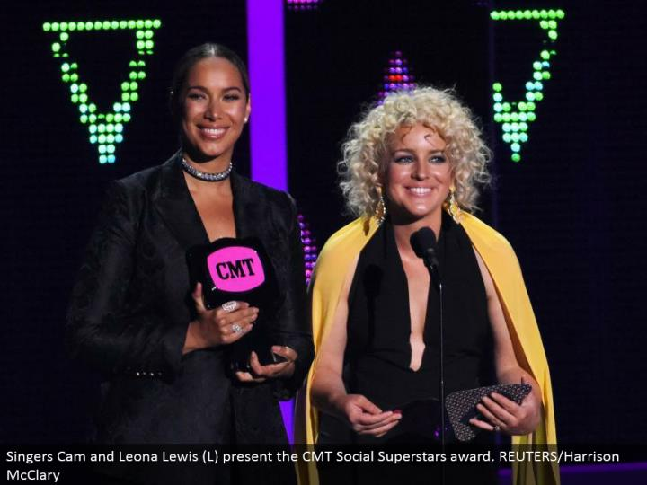 Singers Cam and Leona Lewis (L) display the CMT Social Superstars recompense. REUTERS/Harrison McClary