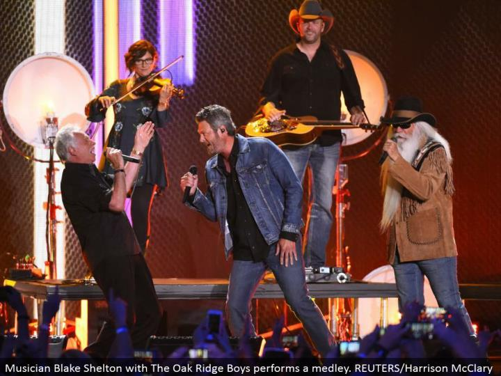 Musician Blake Shelton with The Oak Ridge Boys plays out a mixture. REUTERS/Harrison McClary