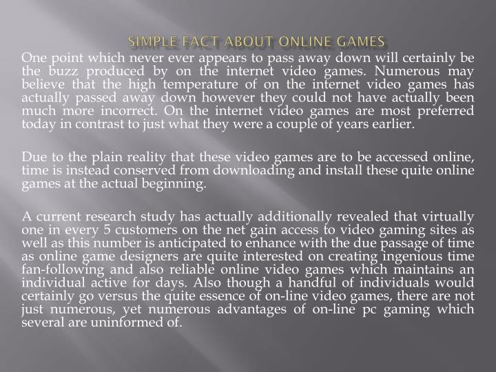 Simple fact about online games