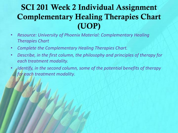 SCI 201 Week 2 Individual Assignment Complementary Healing Therapies Chart (UOP)