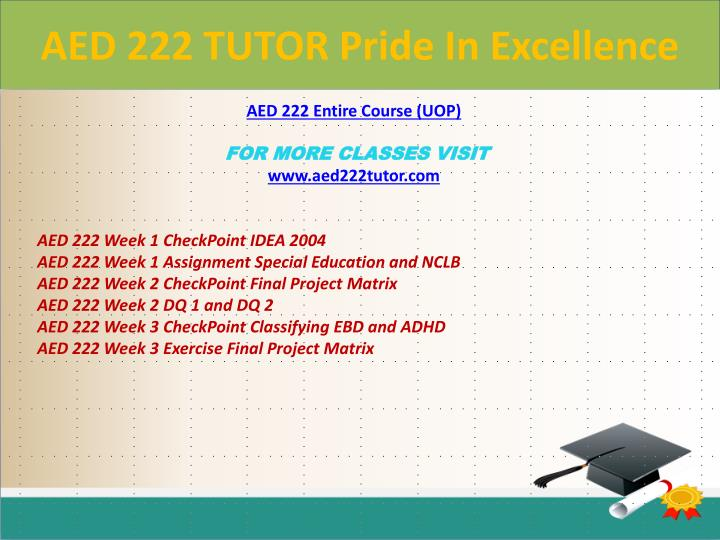 AED 222 TUTOR Pride In Excellence
