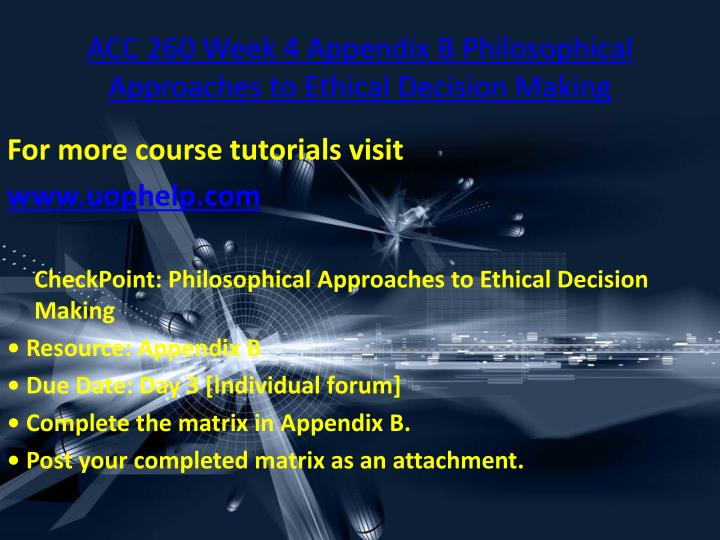 critiquing philosophical approaches to ethical decision making In sports philosophy there is a discourse  this article discusses a new approach  to doping pre- vention for  keywords: doping prevention, ethical decision- making, moral judgment,  (for an overview of critiques see bird & wagner 1997.