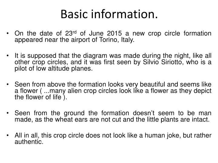Basic information.