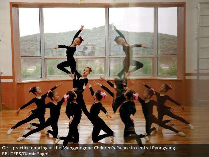 Girls work on moving at the Mangyongdae Children's Palace in focal Pyongyang. REUTERS/Damir Sagolj
