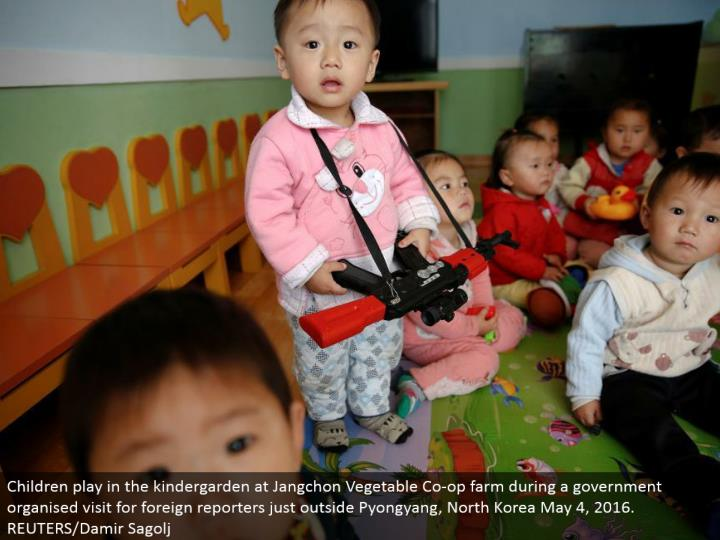 Children play in the kindergarden at Jangchon Vegetable Co-operation ranch amid a legislature sorted out visit for remote journalists simply outside Pyongyang, North Korea May 4, 2016. REUTERS/Damir Sagolj