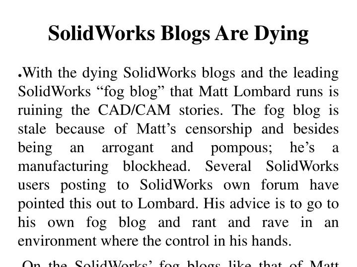 SolidWorks Blogs Are Dying