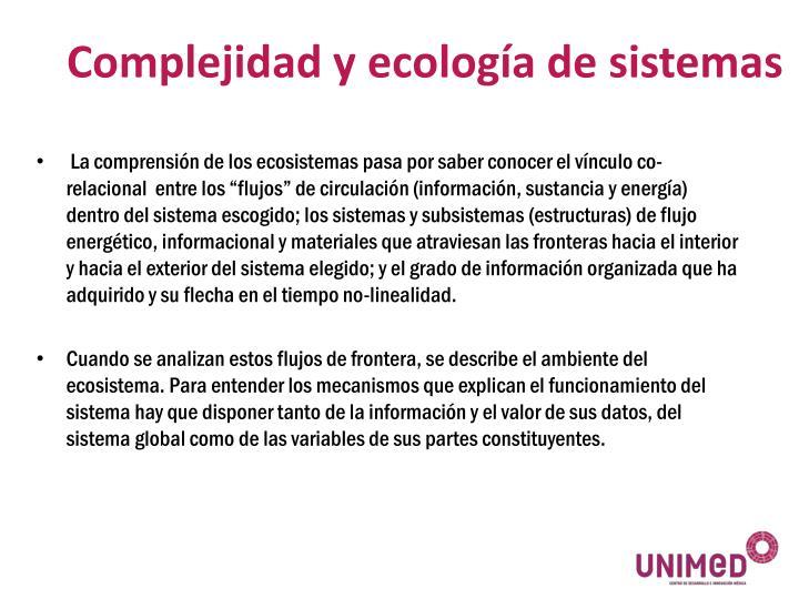 Complejidad y ecología de sistemas