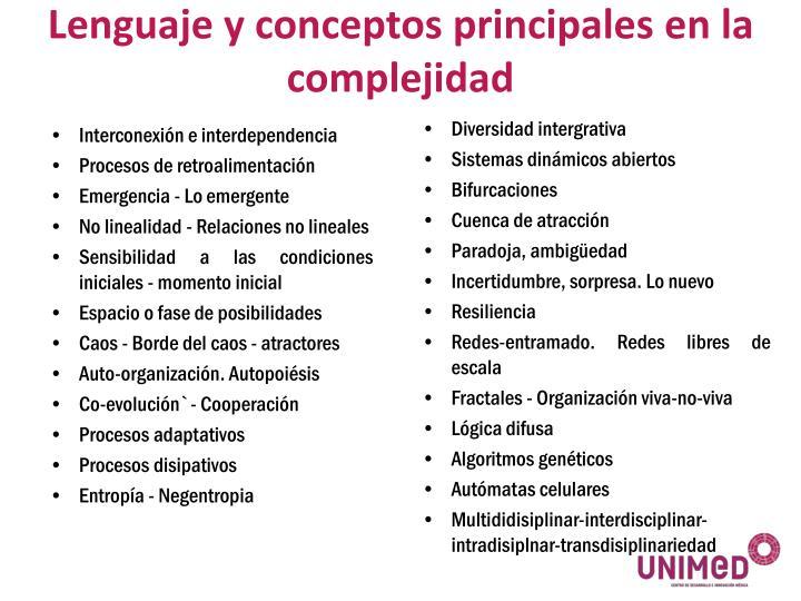 Lenguaje y conceptos principales en la complejidad