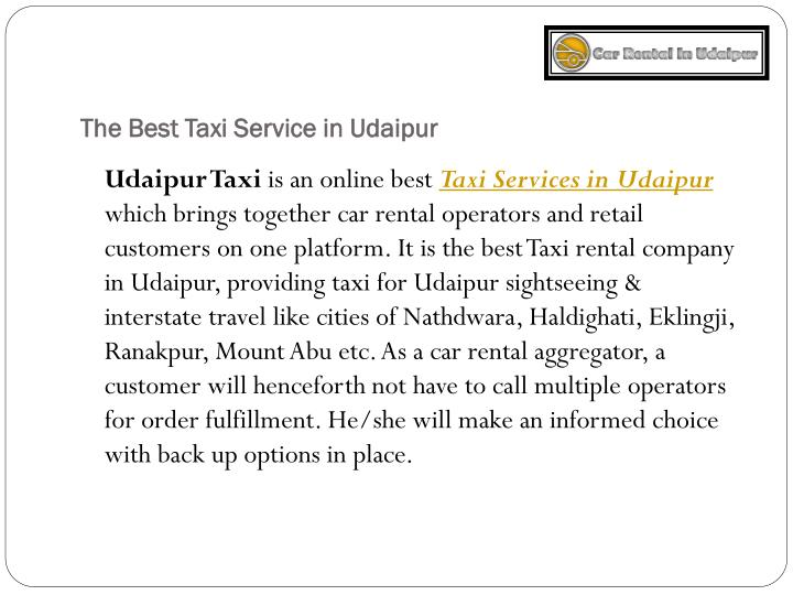 The Best Taxi Service in Udaipur