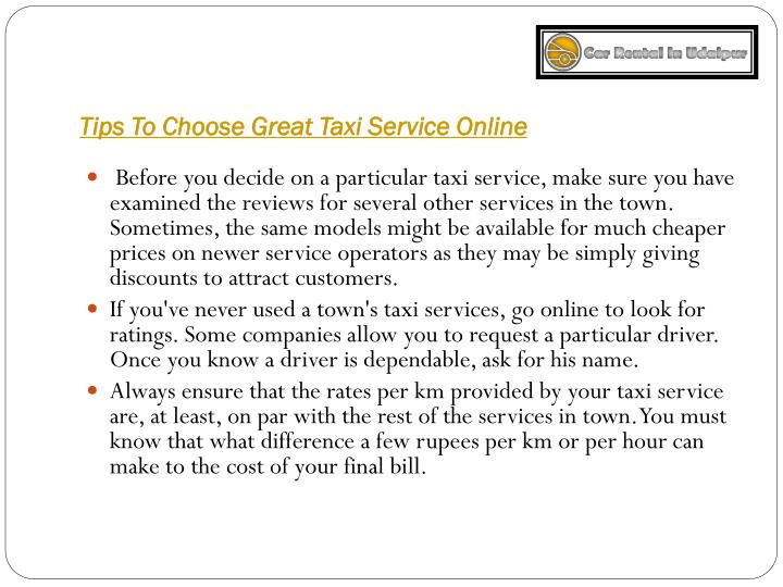 Tips To Choose Great Taxi Service Online