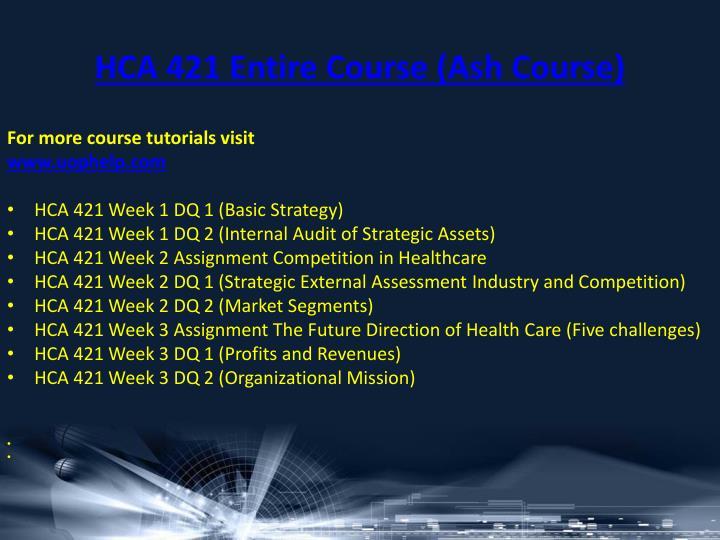 HCA 421 Entire Course (Ash Course
