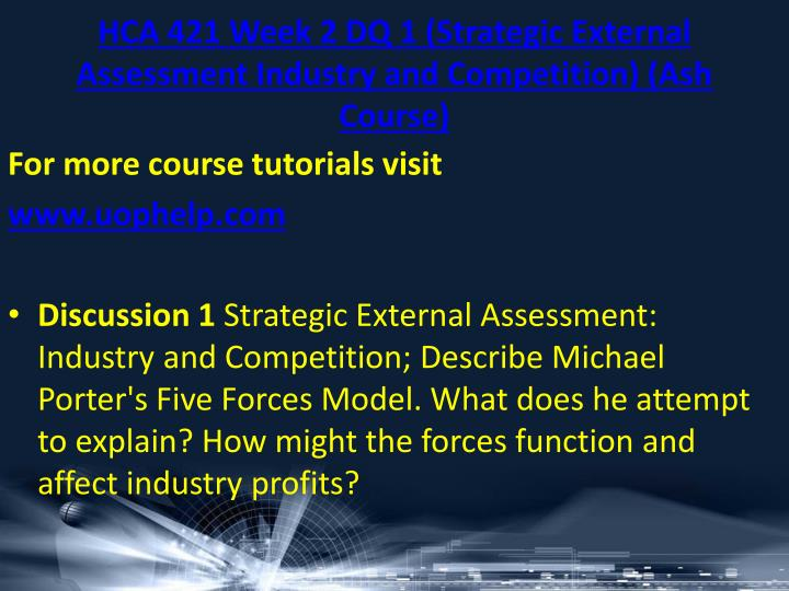 HCA 421 Week 2 DQ 1 (Strategic External Assessment Industry and Competition) (Ash Course