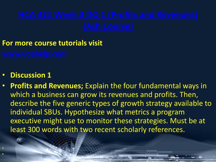 HCA 421 Week 3 DQ 1 (Profits and Revenues) (Ash Course