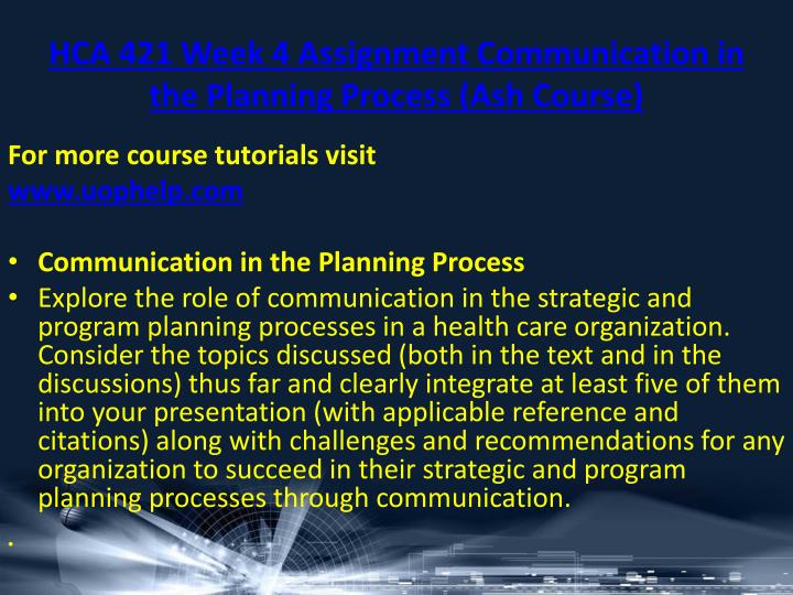 HCA 421 Week 4 Assignment Communication in the Planning Process (Ash Course