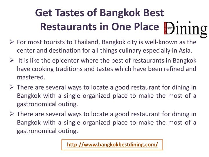 Get Tastes of Bangkok Best Restaurants in One Place