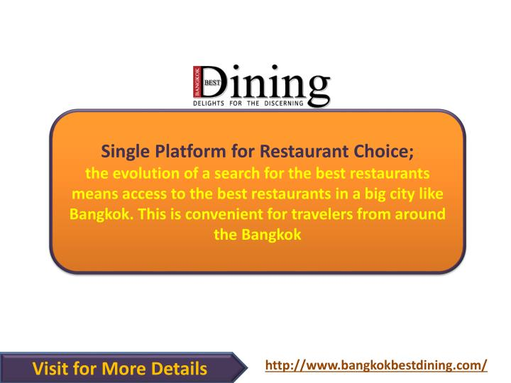 Single Platform for Restaurant Choice;
