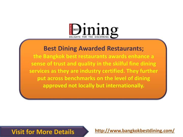 Best Dining Awarded Restaurants;