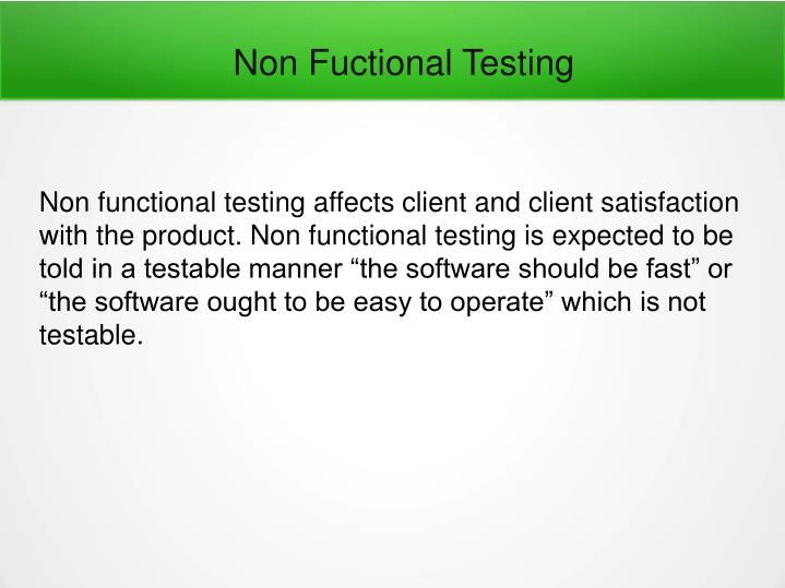 Non Fuctional Testing