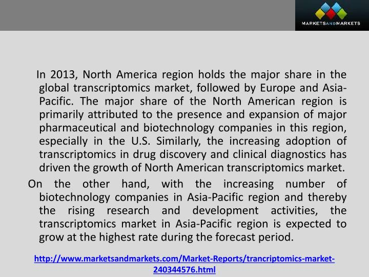 In 2013, North America region holds the major share in the global transcriptomics market, followed by Europe and