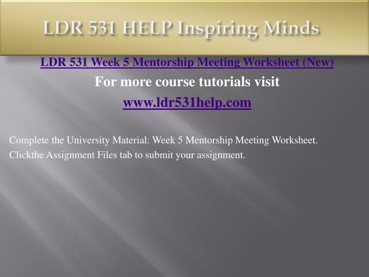 LDR 531 HELP Inspiring Minds