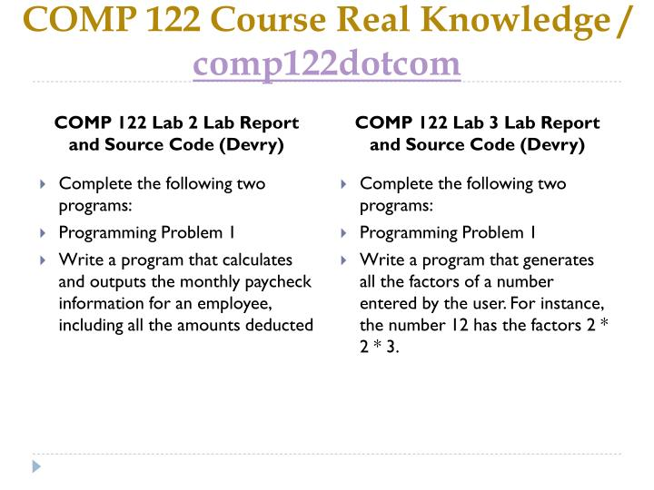 Comp 122 course real knowledge comp122dotcom2