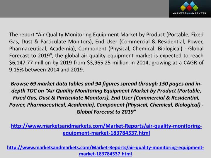 "The report ""Air Quality Monitoring Equipment Market by Product (Portable, Fixed Gas, Dust & Partic..."