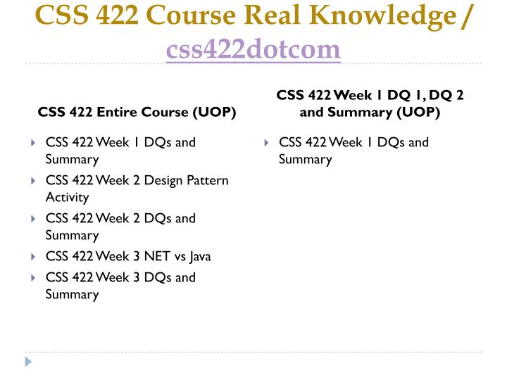 CSS 422 Course Real Knowledge /
