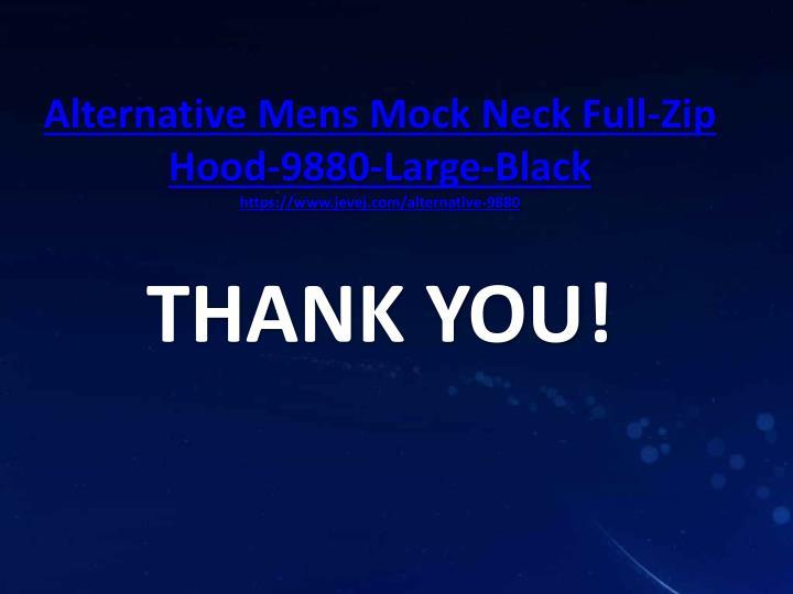 Alternative Mens Mock Neck Full-Zip Hood-9880-Large-Black