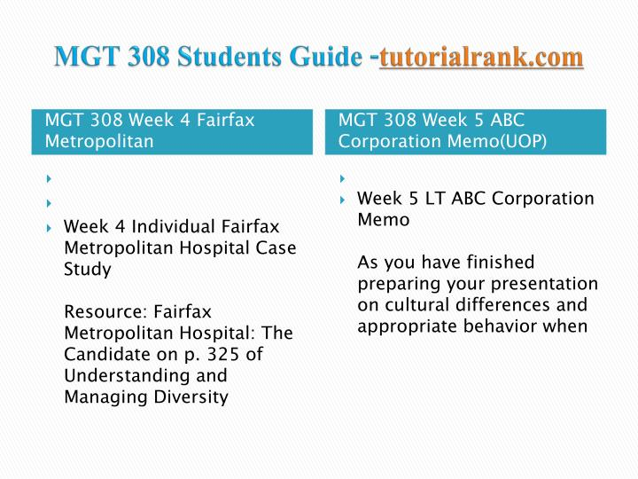 MGT 308 Students Guide -