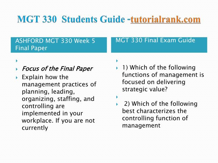 mgt 330 final [title] [name] [school] mgt 330 [professor] [date] final paper in today's economy, corporations have to fight to stay at the top in their chosen market(s) to stay competitively viable and.