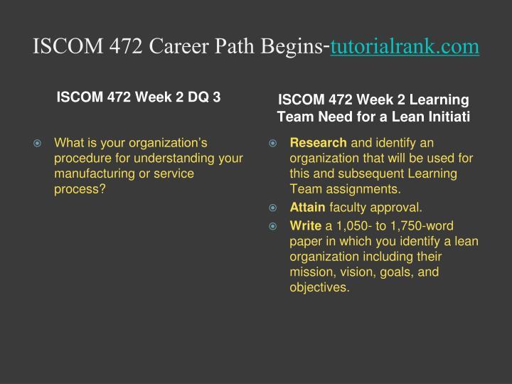 ISCOM 472 Career Path Begins-