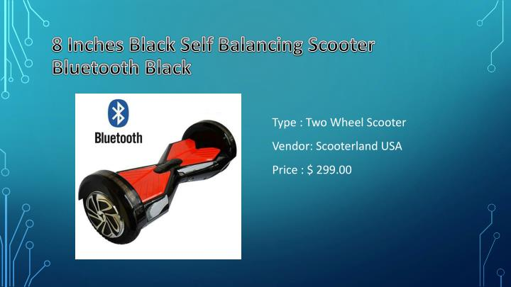 8 Inches Black Self Balancing Scooter Bluetooth Black