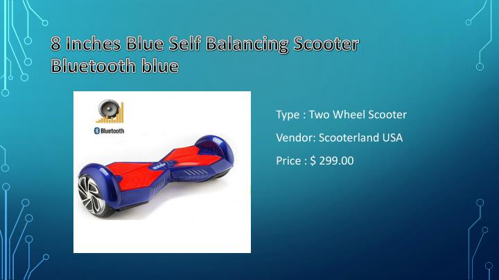 8 Inches Blue Self Balancing Scooter Bluetooth blue