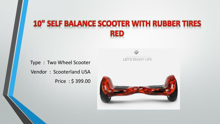 "10"" Self Balance Scooter With Rubber Tires Red"