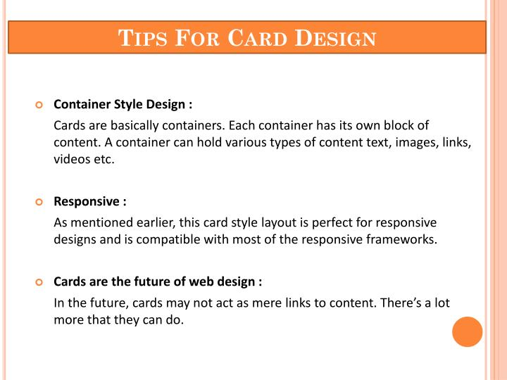 Tips for card design