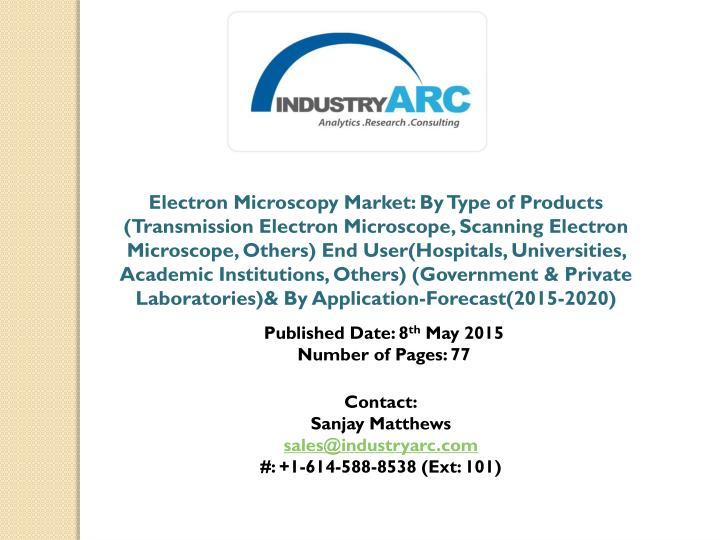 Electron Microscopy Market: By Type of Products (Transmission Electron Microscope, Scanning Electron...